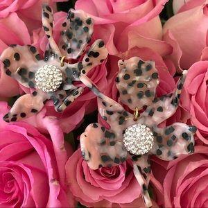 NWT Anthro Lele Sadoughi Dot Pink Lily Earrings